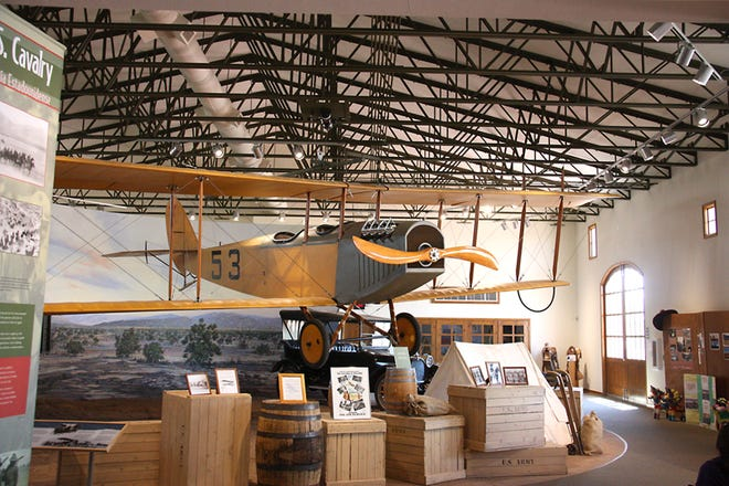 "A flying Jenny hangs above the Pancho Vllla State Park Exhibition Hall in Columbus, New Mexico. The Jenny's were first used by the U.S. Army 1st Aero Squadron during the Punitive Expedition in the hunt for Mexican General Francisco ""Pancho"" Villa."