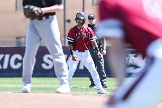 NMSU junior Nick Gonzales runs the bases as the New Mexico State Men's Baseball team faces off against Purdue Fort Wayne in the first game of a double header at Presley Askew Field in Las Cruces on Saturday, Feb. 29, 2020.
