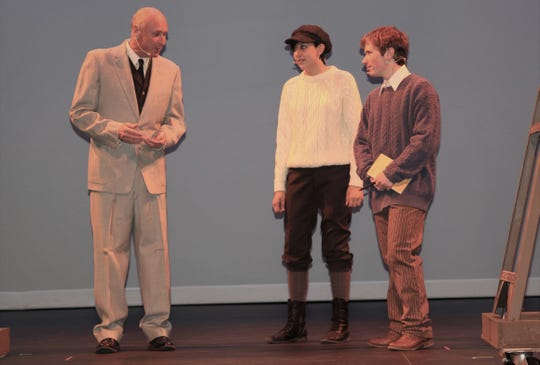 """Mike McDonald, left, Genevieve Paul and Cameron Collyer are featured in a scene from the San Juan College Theatre production of """"Our Town."""""""