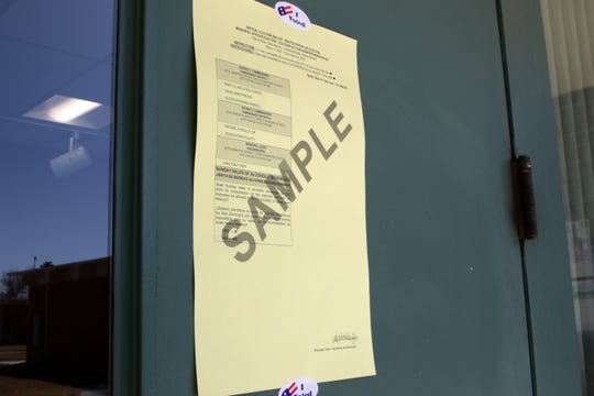 A sample ballot hangs on the door of Aztec City Hall, Tuesday, March 3, 2020.