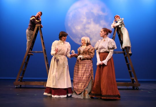 """Kevin Tschetter, left, Dori Molletti, Caroline Creyke, Amanda McCaleb and Lillie Geiersbach are featured in the San Juan College Theatre production of """"Our Town"""" opening this weekend."""