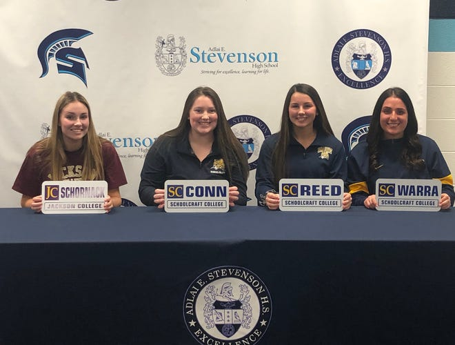 Four members of the Livonia Stevenson softball team signed to continue their playing careers in college.