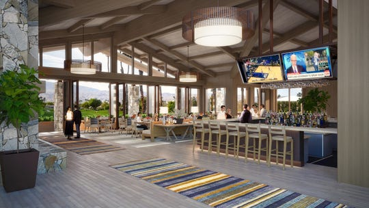 A rendering of the proposed interior of the clubhouse at The Lakes Country Club, which should be open this summer as part of a $19 million renovation and construction project at the club.