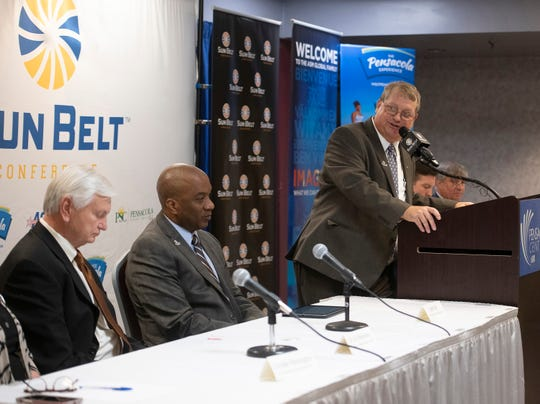 Pensacola Sports President and CEO Ray Palmer confirms that the Pensacola Bay Center will host site for the Sun Belt Conference Men's and Women's Basketball Basketball Championships beginning in 2021. Palmer and Sun Belt officials announced the site selection during a press conference in downtown Pensacola on Tuesday, March 3, 2020.
