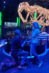 Almost two years after they first met on Match.com, Greg Kaestle proposed to girlfriend Alyssa Bessey at the Arizona Science Center, with Victoria the T. rex as a witness.
