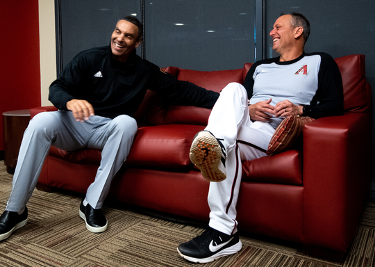 Herm Edwards (left) recently spent some time with Torey Lovullo and the Arizona Diamondbacks at spring training.
