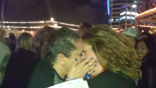 """Crush"" has always been a special song for Erika Grijalva and Jeri Meireis, who proposed to her girlfriend of seven years while Dave Matthews was singing their song at Innings Fest."