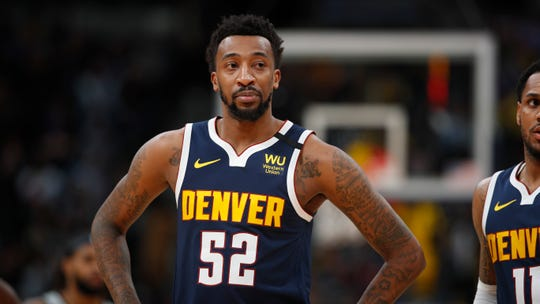 Denver Nuggets guard Jordan McRae (52) in the second half of an NBA basketball game Monday, Feb.10, 2020, in Denver. The Nuggets won 127-120. (AP Photo/David Zalubowski)