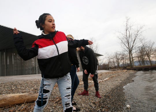 Victoria Ramos of Wappingers Falls skips stones on the Hudson River while visiting Long Dock Park in Beacon on March 2, 2020.