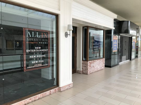 The places where, from left, All In Adventures Escape Rooms and Game Show Room, will be at the Poughkeepsie Galleria are pictured on Tuesday.