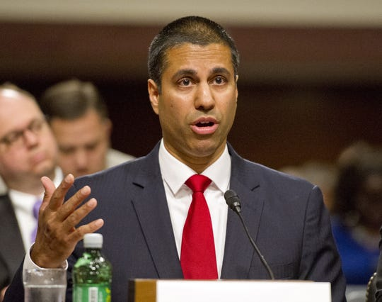Ajit Pai testifies before the U.S. Senate Committee on Commerce, Science, and Transportation on Capitol Hill in Washington, D.C. on July 19, 2017. (Ron Sachs/CNP/Zuma Press/TNS)