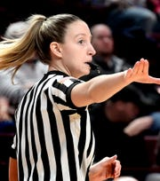 Referee Jenny Horvatinovic officiates during Central York's District 3 Class 6-A girls' basketball final against Central Dauphin at the Giant Center Saturday, Feb. 29, 2020. Horvatinovich played basketball at Dallastown and Red Lion during her high school career. Bill Kalina photo