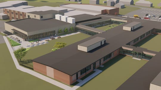 Overall rendering for Northeastern School District's high school renovation project, budgeted for about $100 million over nine years. Rendering updated with the completion of the design development phase of Project 1 on Monday, March 2, 2020.
