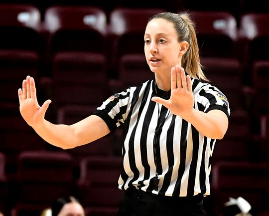Referee Jenny Horvatinovic makes a call during Central York's District 3 Class 6-A girls' basketball final against Central Dauphin at the Giant Center Saturday, Feb. 29, 2020. Horvatinovich played basketball at Dallastown and Red Lion during her high school career. Bill Kalina photo