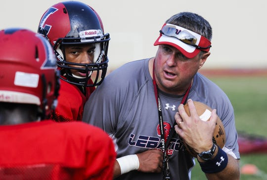 Gerry Yonchiuk works the Lebanon football team during the first day of practice in 2015.