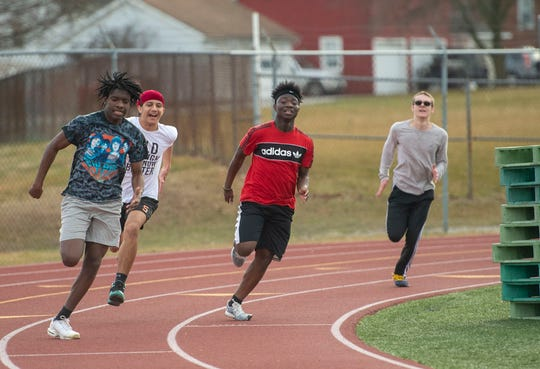 Spring sports 2020 started practice on a beautiful spring-like day on Monday. Here, Northeastern High School's track and field team took time to drill.