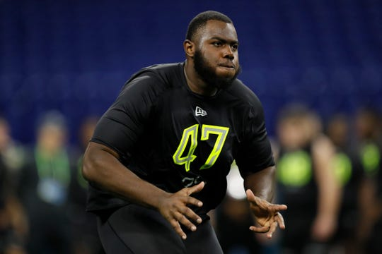 Georgia offensive lineman Andrew Thomas runs a drill at the NFL football scouting combine in Indianapolis, Friday, Feb. 28, 2020. Thomas is one of the top tackle prospects for the 2020 NFL Draft.