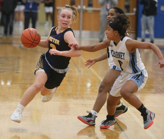 Chloe Whittier drives to the basket against Bishop Kearney's Marianna Freeman and Kaia Goode. Whittier is hoping to have the chance to represent her school on the softball field this spring.