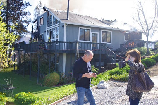 Barry and Lori Byrne were home when the fire broke out at their home on Highland Court in Shasta on Monday.