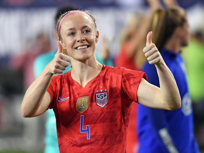 United States defender Becky Sauerbrunn (4) gives thumbs up to the crowd after match against Portugal during U.S. Women's National Team Victory Tour soccer match at First Financial Field.