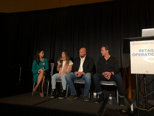 Physician Mimi Vo talks medical cannabis with CrossFit athlete Dani Horan and former NFL players Kyle Turley and Grant Wistrom at MoCannBizCon+Expo in St. Louis on Tuesday, March 3, 2020.