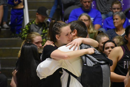 Pine View's Averi Papa gets emotional as time runs out on the Panthers' Cinderella run. Papa averaged 12 points  and 10.8 per game as Pine View's go-to player.