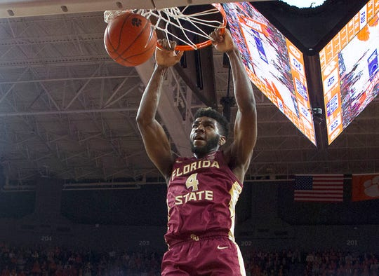 Feb 29, 2020; Clemson, South Carolina, USA; Florida State Seminoles forward Patrick Williams (4) dunks the ball during the second half against the Clemson Tigers at Littlejohn Coliseum. Mandatory Credit: Joshua S. Kelly-USA TODAY Sports