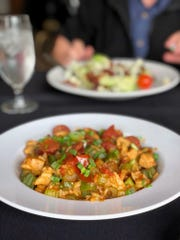 Jambalaya, with chicken, sausage and crawfish,  tomatoes and okra in a vibrant sauce at Edward Ball Dining Room at the Wakulla Springs State Park.