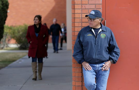 State Sen. José Rodríguez was campaigning for District 76 state House candidate Elisa Tamayo on Tuesday, March 3, 2020, at Cielo Vista Elementary School.