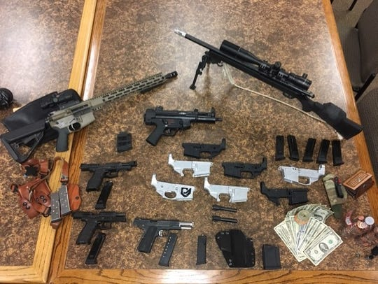 Illegal firearms seized by Ventura County Sheriff's officials in Thousand Oaks.