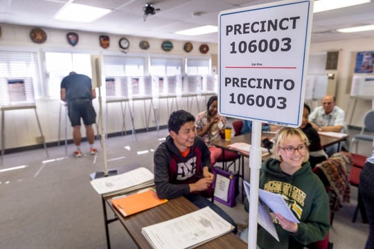 Voters at CAL Fire on Lovers Lane in Visalia on Tuesday, March 3, 2020.