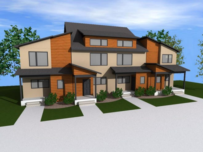 A rendering shows what new town homes could look like on Wausau's north side, near the River East town home development and Riverlife. The buildings were proposed by Aedifix Holdings and could take five years to complete.