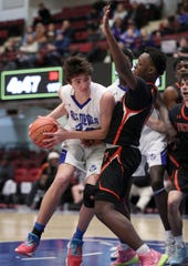 Haldane's Matteo Cervone is pressured by Tuckahoe's Roger Burwell during their Class C semifinal at the Westchester County Center Mar. 2, 2020