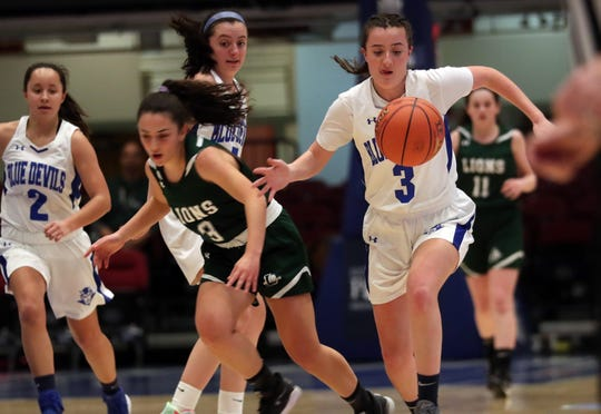 Haldane's Bela Monteleone (3) controls a loose ball in front  of Leffell's Alex Jaeger (3) during the girls Class C semifinal at the Westchester County Center in White Plains March 3, 2020. Haldane won the game 63-20.