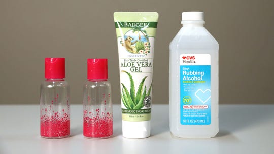 Rubbing alcohol and aloe vera gel, ingredients to make hand sanitizer, March 3, 2020 in White Plains.