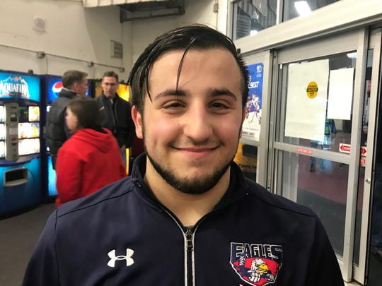 ETBE goalie J.P. Rosabella, an Eastchester High junior who stopped 37 shots against Mamaroneck and 53 shots against Suffern to be voted Journal News/lohud Ice Hockey Player of the Week