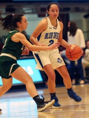 Haldane's Shianne Twoguns (2) tries to get around Leffell's Alex Jaeger (3) during the girls Class C semifinal at the Westchester County Center in White Plains March 3, 2020. Haldane won the game 63-20.