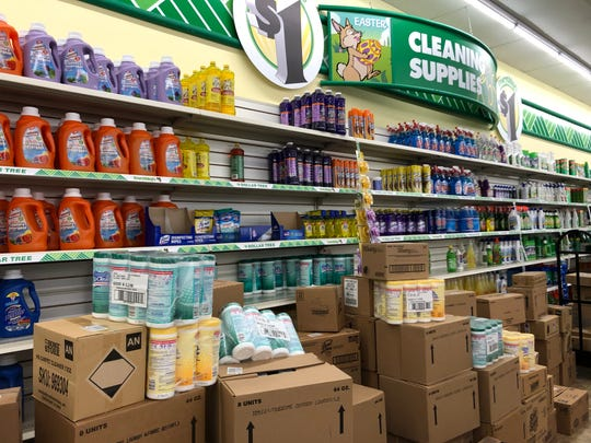 Disinfectant wipes are still in their packaging at the Dollar Tree on Maryland Avenue.