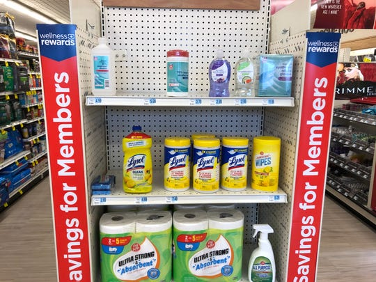A display at the front of the Rite Aid on Maryland Avenue features just a handful of cleaning products.