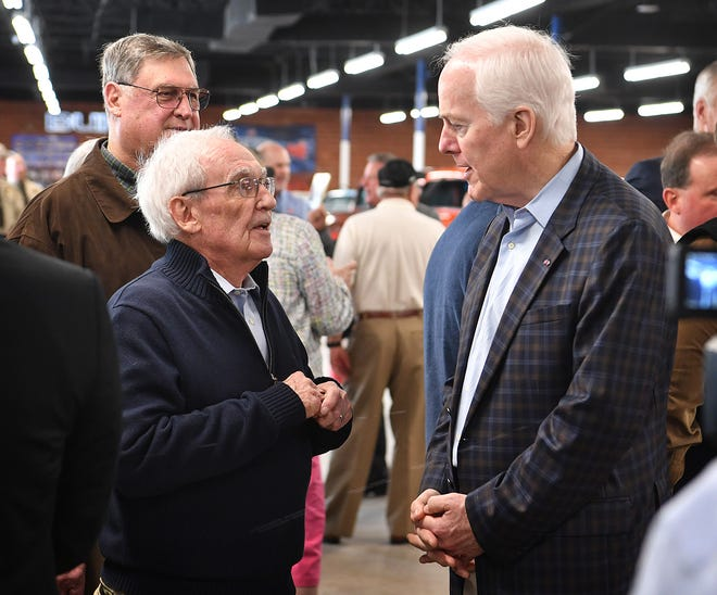 Senator John Cornyn, right, listens  to one of his supporters during a visit to Wichita Falls Tuesday morning. Cornyn reminded everyone of the importance of their vote.