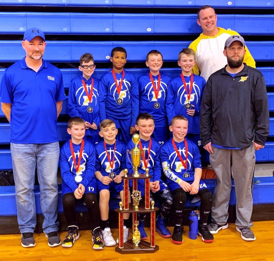 The Philo fifth grade boys were the state runner-up. Pictured are (front row, left to right) Coach Jeremy Harper, Ashton Farris, Griffin Harper, Rusty Trout, Slade Sprankle, Coach Andy Crabtree. Back Row (L to R): Brycen Wolfe, Ky-Mani Philip, Kole Cash, Carter Crabtree, Coach Jason Trout.