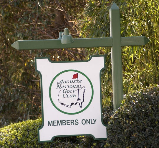 Sign at entrance to Augusta National Golf Club in Augusta, Georgia.