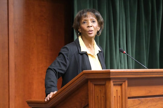Los Angeles County District Attorney Jackie Lacey at a news conference on March 2, 2020 in Los Angeles.
