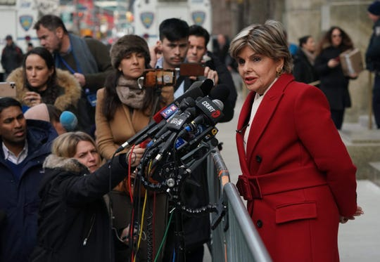 Gloria Allred talks to the media outside the Manhattan courthouse during the trial of Harvey Weinstein, Jan. 23, 2020.