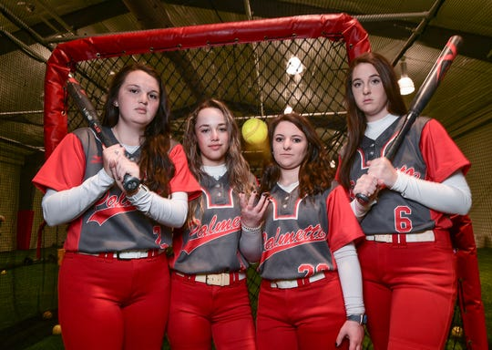 Palmetto softball seniors, from left: Claire Ellison, Addi Johnson, Kirsten Meeks, and Kenley Powell help lead the Mustangs into the 2020 season.
