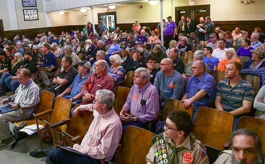 A mostly full auditorium at the Anderson County Council regular meeting in the Historic Courthouse Tuesday, March 3, 2020. Gun-rights supporters packed the council chambers with 18 speaking for three minutes at a time during citizen comments. Many attending hoped the county creating a Second Amendment sanctuary where any new state and federal gun-control restrictions would not be enforced, but the council voted to table an ordinance for a decision.