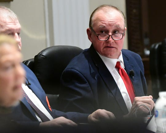 Chairman Tommy Dunn speaks, District 5, speaks during the Anderson County Council regular meeting in the Historic Courthouse Tuesday, March 3, 2020.