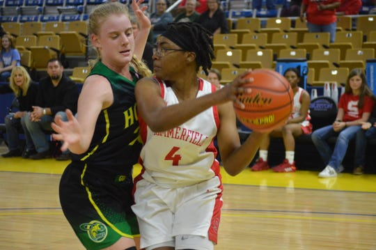 Plainview junior Abigail Pippen  (left) guards Summerfield senior Ajai Meadors during Wednesday's Class C semifinal game.