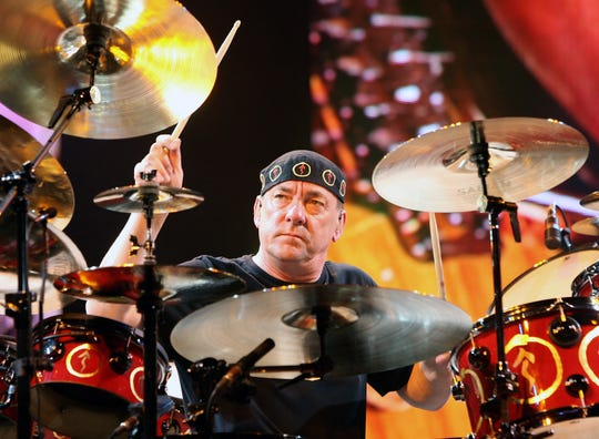 Rush drummer Neil Peart performs at the Mandalay Bay Events Center on May 10, 2008 in Las Vegas, Nevada.