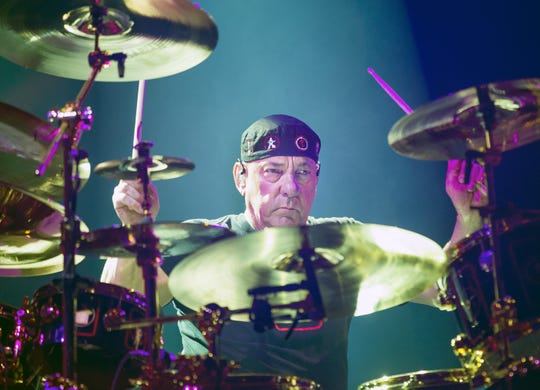 Rush drummer Neil Peart, pictured at the US Airways Center in Phoenix on July 27, 2015.